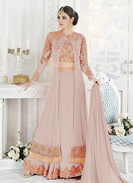 Mauve Net Georgette Umbrella Lehenga