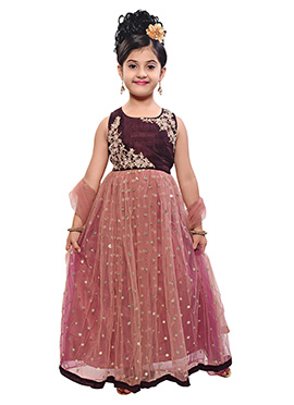 Mauve Net Kids Anarkali Gown