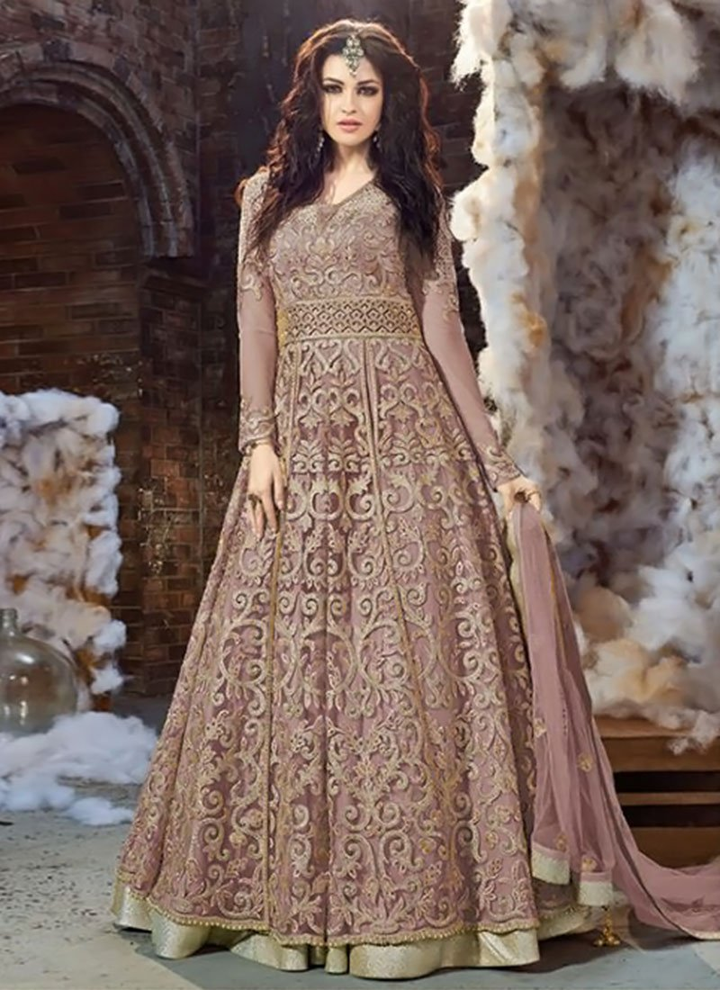 Buy Mauve Net Layered Anarkali Suit Anarkali Suit Online