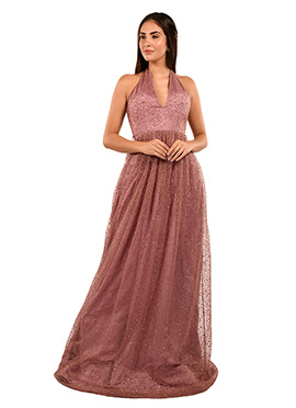 Mauve Sequins Embroidered Gown