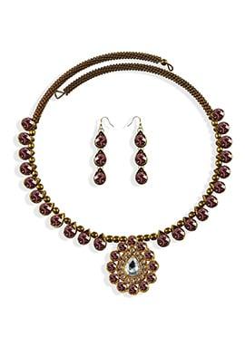 Mauve Stone Beautified Choker Necklace Set