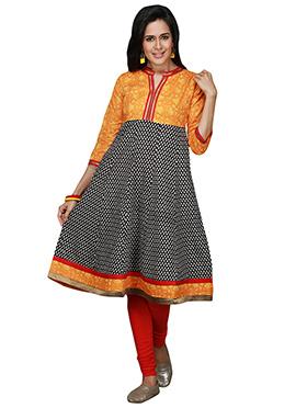 Maybell Orange N Black Cotton Printed Kurti