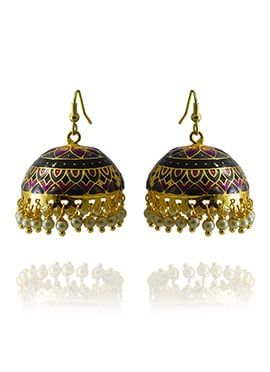 Meenakari Worked Black N Purple Jhumka Earring