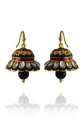 Meenakari Worked Black N Red Jhumka Earring