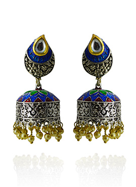 Meenakari Worked Blue N Green Jhumka Earring