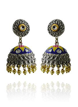 Meenakari Worked Blue N Yellow Jhumka Earring