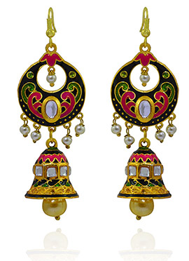Meenakari Worked Green N Pink Jhumka Earring