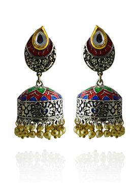 Meenakari Worked Green N Red Jhumka Earring