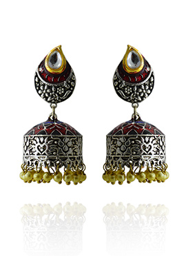 Meenakari Worked Maroon Jhumka Earring