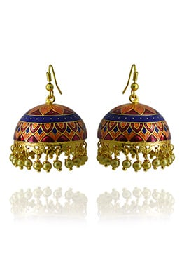 Meenakari Worked Orange N Blue Jhumka Earring