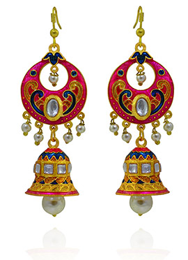 Meenakari Worked Pink N Blue Jhumka Earring