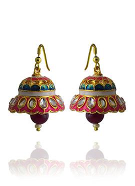 Meenakari Worked Pink N Off White Jhumka Earring