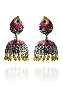 Meenakari Worked Pink N Yellow Jhumka Earring