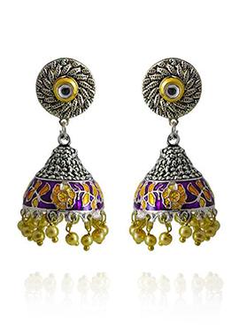 Meenakari Worked Purple N Yellow Jhumka Earring