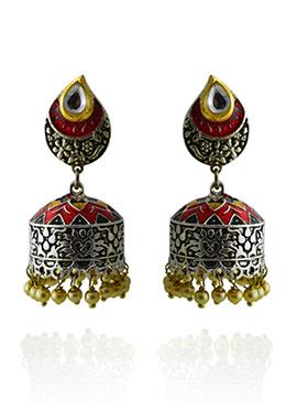 Meenakari Worked Red Jhumka Earring