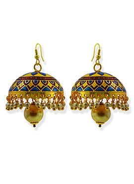 Meenkarai Worked Gold N Blue Jhumkas