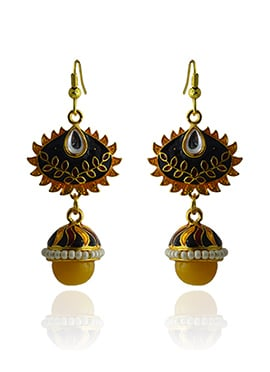 Meenakari Worked Black N Rust Dangler