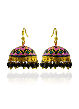 Meenkarai Worked Pink N Green Jhumkas