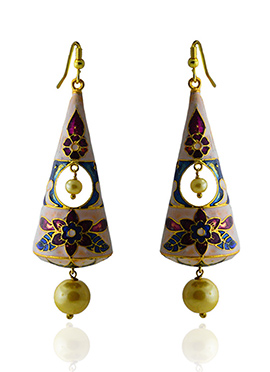Meenkari Worked Purple N Off White Dangler Earring