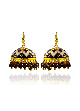 Meenkarai Worked Purple N Off White Jhumkas