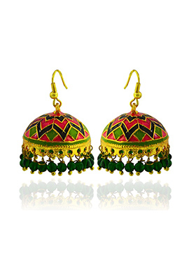 Meenkarai Worked Red N Green Jhumkas