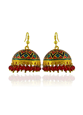 Meenakari Worked Teal Blue N Red Jhumkas