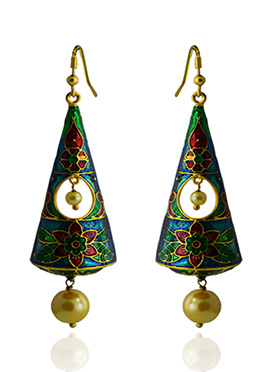 Meenkari Worked Tricolored Dangler Earring
