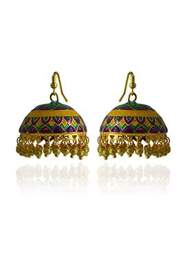 Meenakari Worked Tricolored Jhumka
