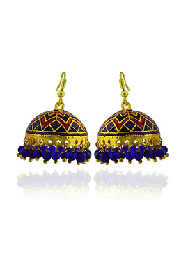 Meenakari Worked Tricolored Jhumkas