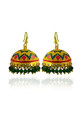 Meenakari Worked Tricolored Jhumkas