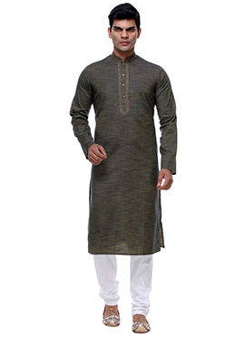 Mehandi Green Cotton Kurta Pyjama