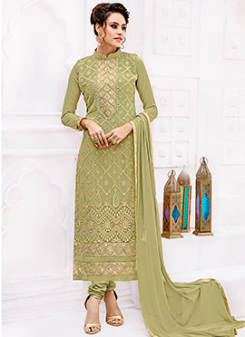 Mehandi Green Georgette Straight Suit