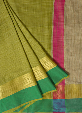 Mehandi Green Spun Silk Saree
