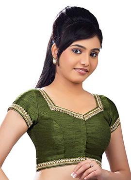 Mehendi Green Art Dupion Silk Blouse