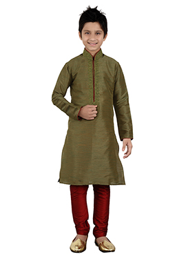 Mehendi Green Art Silk Kids Kurta Pyjama
