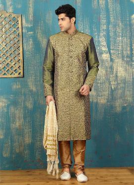 Mehendi Green Benarasi Silk Kurta Pyjama