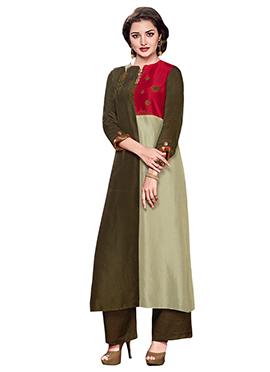 Mehendi Green Colour Block Palazzo Suit