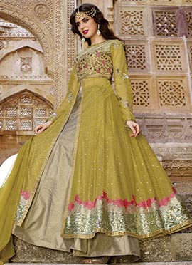 Mehendi Green Net Long Choli Lehenga