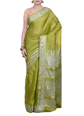 Mehendi Green Pure Silk Embroidered Saree