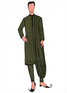 Mehndi Green Lycra Draped Kurta Set