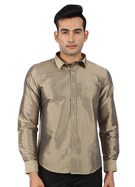 Metallic Grey Pure Raw Silk Shirt