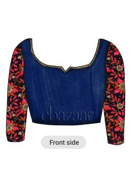Midnight Blue Art Raw Silk Embroidered Blouse