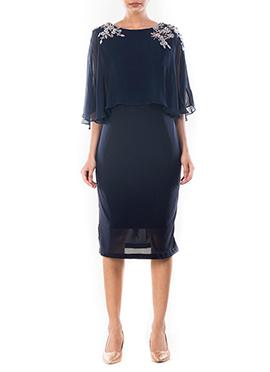 Midnight Blue Cape Dress