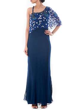 Midnight Blue Cape Style Gown