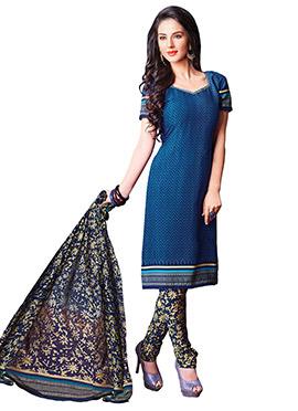 Midnight Blue Printed Churidar Suit