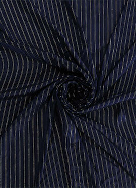 Midnight Blue Zari Work Satin Fabric