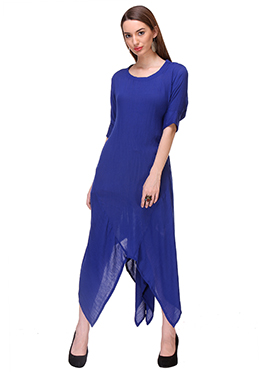 Royal Blue Crepe Asymmetrical Tunic