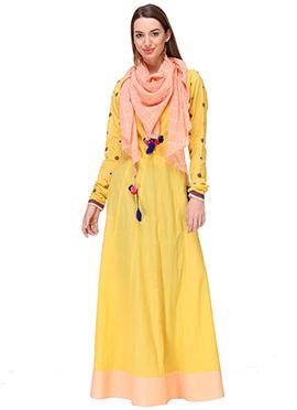 Miku Kumar Yellow Cotton Kalidar Suit