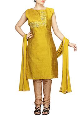 Mimosa Yellow Chanderi Pure Silk Cotton Churidar S