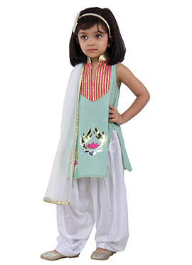 Mint Art Silk Cotton Net Kids Salwar Suit